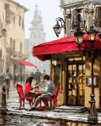 """Картины по номерам на холсте """"Свидание в кафе""""  КН2144"""