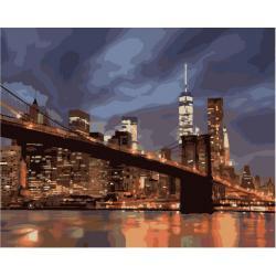 """Картины по номерам на холсте """"Ночной Нью Йорк"""" КН2133"""