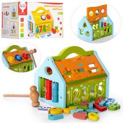 Деревянная игрушка Игра-логика   MD 0936   Домик - стучалка